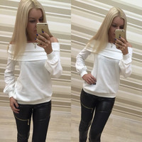 Off Shoulder Pure Color Long Sleeves Loose T-shrit Sweatshirt
