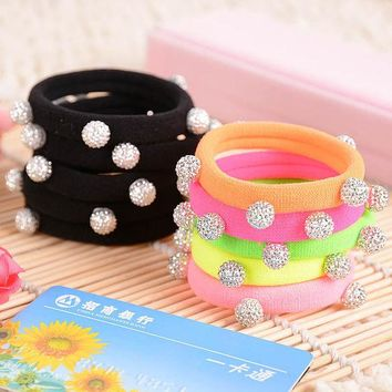 ONETOW 10pcs/lot Candy Color Silver Crystal Balls Quality Black Elastic Ponytail Holders Hair Accessories Girl Women Rubber Band Mixed