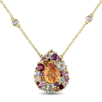 Miadora Yellow-plated Silver Multi-gemstone Teardrop Necklace | Overstock.com Shopping - The Best Deals on Gemstone Necklaces