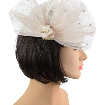 Ivory Sequined Sinamay Turban Style Bow Hat