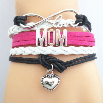 Infinity Love heart MOM Bracelet black pink Customize Wristband friendship Bracelets
