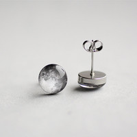 Full Moon earring studs, Surgical steel posts, Tiny earring studs, Space jewelry, Moon earring