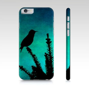 Bird Phone Case - Bird Silhouette - iPhone Case - Phone Cover - Teal Phone Case - Art Phone Case - iPad Mini Case - Samsung Galaxy S4 S5