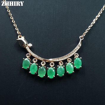 ZHHIRY Green Emerald Necklace Pendant Natural Gem Stone Jewelry Genuine 925 Sterling Silver