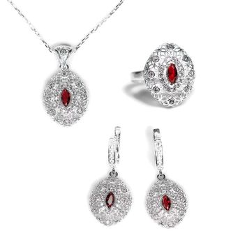 Sterling Silver Filigree Marquise Ruby Ring, Necklace and Earrings Jewelry Set