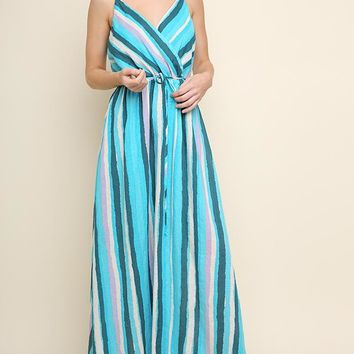 Multicolor Striped Wrap Maxi Dress with a Waist Tie and Adjustable Spaghetti Straps