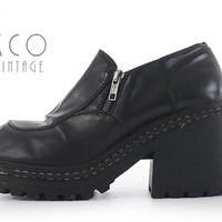 "Platform Shoes 8 Black Vegan Leather 90's Vintage Loafers / Chunky Lug Sole Block Heel Slip On Shoes Women's Sizes US 8 / UK 6 / 9.5"" Insole"