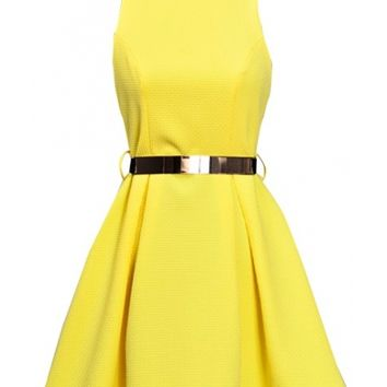Belted Cutout Dress - Kely Clothing