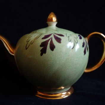 Porcelain teapot by Ellgreave Burslem England green and gold , Vintage teapot serving dish