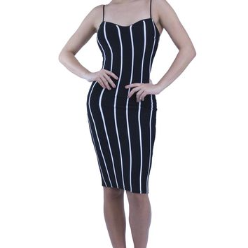 Striped Padded Cups Adjustable Cami Straps Bodycon Midi Dress