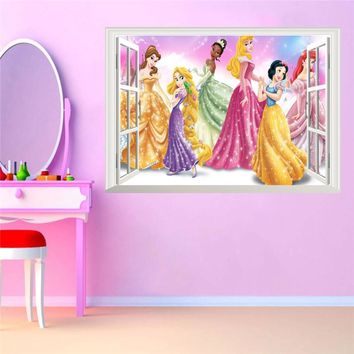 3D False Window Princess Wall Stickers for Kids Rooms Home Decoration DIY Adesivo de Parede Bedroom Mural Girl's Gift Poster
