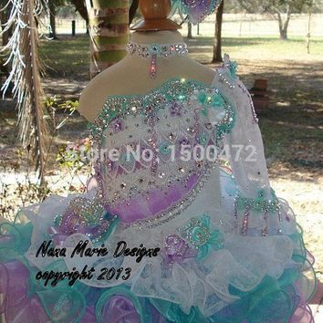 Luxury Crystal Beaded Puffy Organza Flower Girls Dress 2016 Beautiful One Shoulder Long sleeve Pageant dresses for little girls