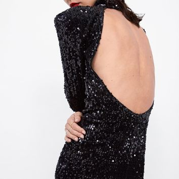 SEQUINED VELVET DRESS