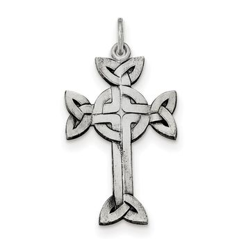 Sterling Silver Antiqued, Textured And Brushed Celtic Cross Pendant