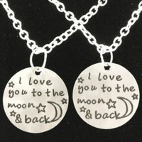 2 Necklaces I Love You To The Moon And Back Best Friends BFF Sisters Couples