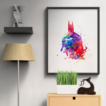 Batman Watercolor Art Paint Wall Hanging Home Decor Kids Room Poster