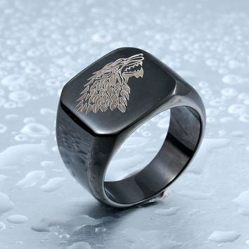 A Song Of Ice And Fire Game Of Thrones 7 House Starks Winterfell Wolfe Ring Jewelry