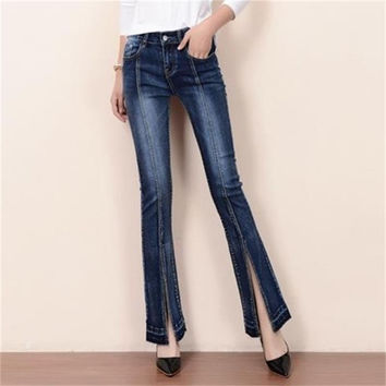 Free Shipping Women 2017 Spring Autumn Boot Cut Jeans Girls Fashion Bell-bottom Business casual Mid Waist Flares Denim Pants
