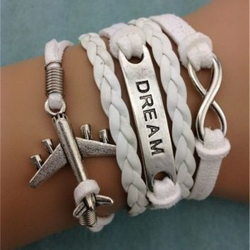 Infinity Dream Airplane White Leather Bracelet