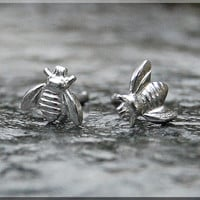 Tiny Sterling Bees Earrings. Silver Bee Post Earrings, Tiny bee Earrings, Handmade sterling silver post earrings, Tiny insect earrings