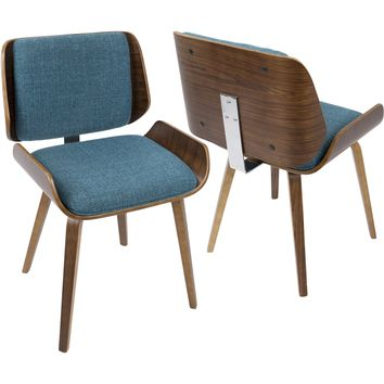 Santi Mid-Century Dining Chairs with Turquoise Fabric, Walnut (Set of 2)