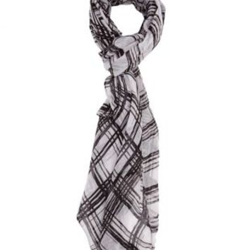 Black/White Lightweight Plaid Wrap Scarf by Charlotte Russe