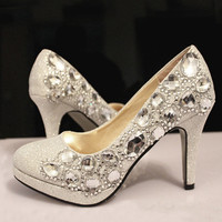 Crystal wedding shoes rhinestone bridal shoes, Crystal heels, Bling white prom shoes,Custom wedding shoes,Crystal wedding shoes