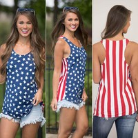 Fashion Women Clothes Summer Sleeveless T-shirt Lady Cotton Casual Top Loose Comfotable T-Shirt American Nationabl Flag Clothes
