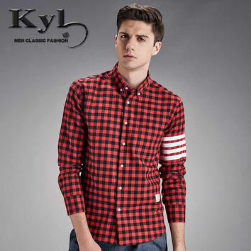 Flannel Men Plaid Shirts New Autumn men shirt long sleeve Men's Fashion red and black red checkered shirt M-4XL SY1855