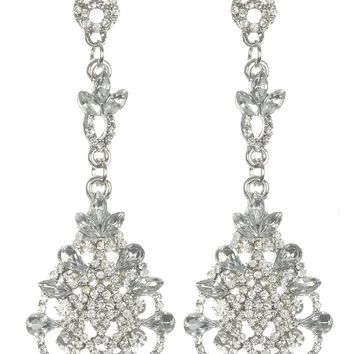 Clear Crystal Stone Cluster Dangle Earring