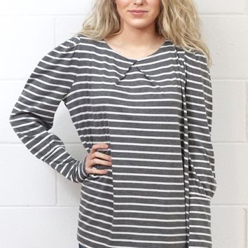 Basic Stripe U-Hem Long Sleeve {Charcoal}