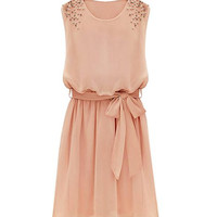 Pink Beaded Chiffon Mini Dress