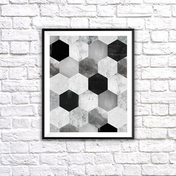 Gray Hexagons, Wall Art Print, Minimalistic Design, Bedroom Decor, Black and White, Geometric Print, Printable, Home Wall Decor