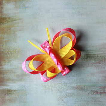 Baby / Toddler / Girl Hair Clips, Pink, Yellow, and White Polka Dotted Butterfly Ribbon Sculpture