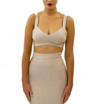 """SAVANNAH"" Nude Bandage Twin Set - BANDAGE TOPS - SHOP NOW"