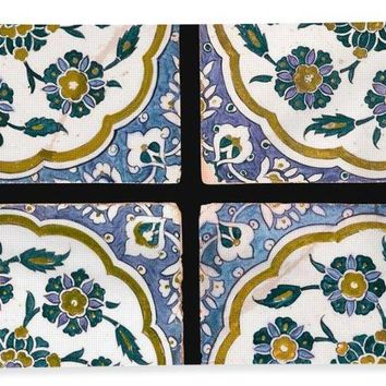 An Ottoman Iznik Style Floral Design Pottery Polychrome, By Adam Asar, No 14c - Bath Towel
