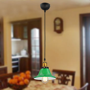 UNITARY BRAND Vintage Green Murano Glass Pendant Light Max 40W With 1 Light Brass Finish