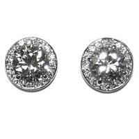 Matia Round Halo Statement Stud Earrings - 15mm | 5.5ct | Cubic Zirconia | Silver
