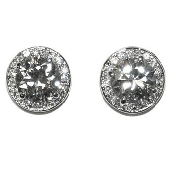 Matia Round Halo Statement Stud Earrings - 15mm  181913293