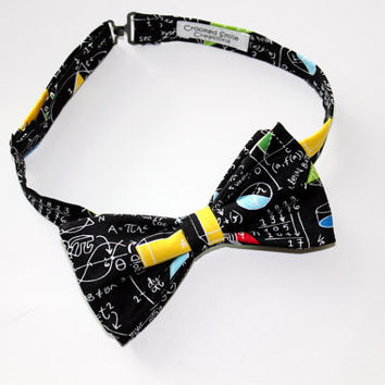 Black Math Lover's Bow Tie, Pre-tied, Men's Neck Tie, Teacher's gift with Free Shipping