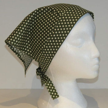 Triangle Kerchief, Adult Triangle Head Scarf, Cotton Bandana, Green with Polka Dots
