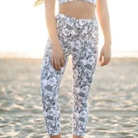 Nikki Active Grey Floral Capri Leggings