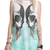 Hot Topic Women's Skull Ombre Glitter Top