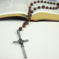 Anglican Prayer Beads for Him - Red Picture Jasper with Large Pewter Cross