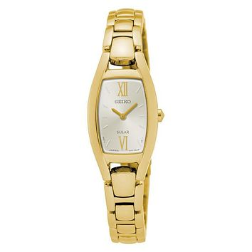 Seiko Womens Solar Classic Jewelry Watch - Silver / White Dial - Gold-Tone