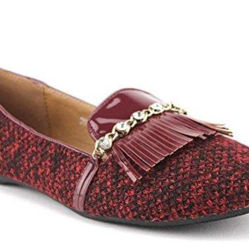 Women's Dutches Patent Leather Fringe Woven Smoking Flats Slip On Shoes