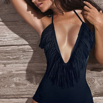 Sexy Women Summer Tassel Monokini Swimsuit Teddy T91K = 1955960452