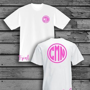 Custom Monogram Front Left Chest and Back V-Neck, Scoop or Baseball T-Shirt
