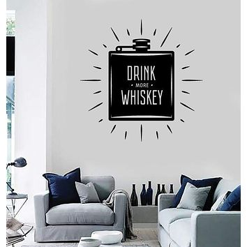 Wall Vinyl Decal Flask Labeled Drink More Whiskey Home Decor Unique Gift z4783