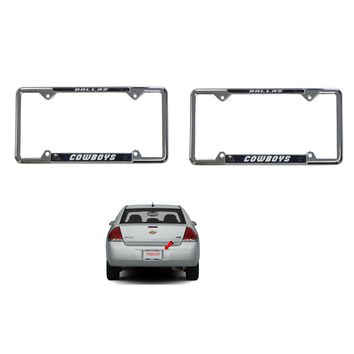 Licensed Official New 2pcs NFL Dallas Cowboys Car Truck Chrome Metal License Plate Frames